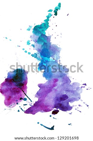 watercolor map of the UK - stock photo