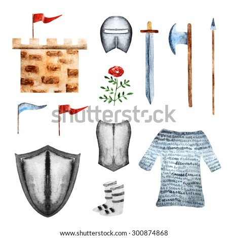 Watercolor medieval knight objects collection including tower, flags, helmet, shield, sword, axe, spear, rose, armour. Knight icon, banner, label, logo - stock photo