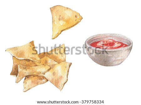 Watercolor mexican nacho chips and red hot salsa sauce. Mexican national food. - stock photo