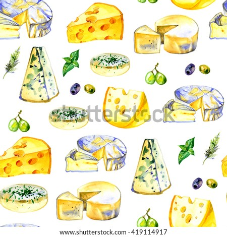 Watercolor milk cheese pattern
