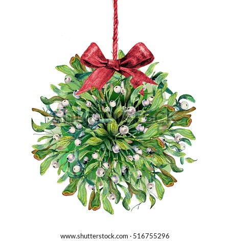 Mistletoe Ball Decoration Endearing Watercolor Mistletoe Kissing Ball Red Burlap Stock Illustration Design Decoration