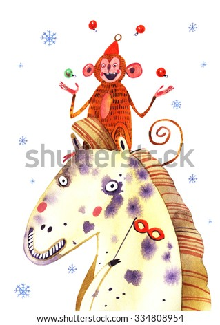 watercolor monkey, horse, snowing, new year illustration isolated on white background - stock photo