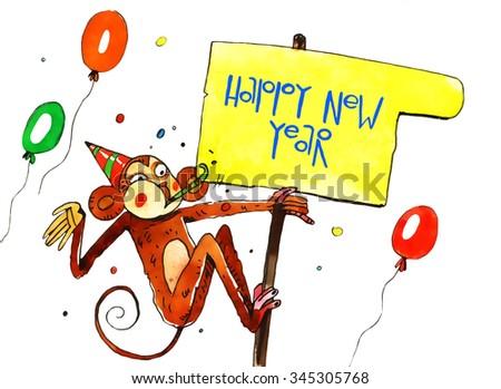 watercolor monkey, new year, cartoon illustration isolated on white background - stock photo