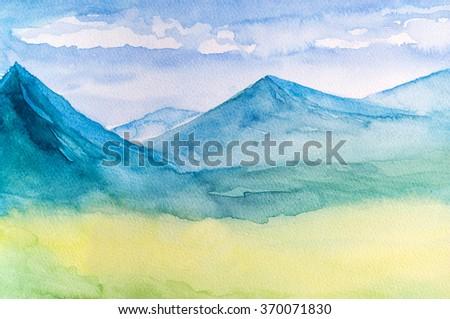 watercolor mountains landscape  - stock photo