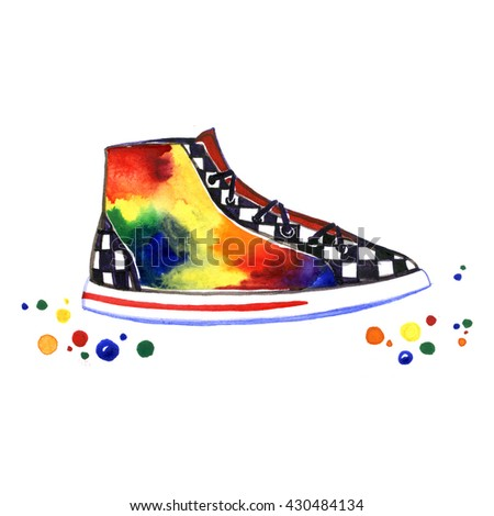 Watercolor multicolored sneakers with checkerboard on white background - stock photo