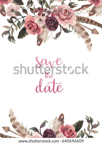 Watercolor Natural Boho Floral Flower Feather Arrangement Isolated On White Background Artistic Tribal Bohemian