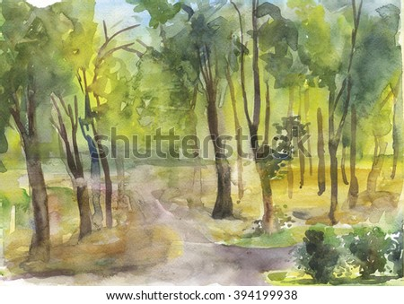 watercolor nature landscape, wood, trees - stock photo