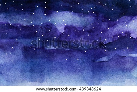 watercolor night sky