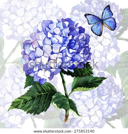 Watercolor of a blue hydrangea and butterfly. Watercolor illustration of a blue hydrangea blossom hand painted. Illustration for greeting cards, invitations, and other printing projects. - stock photo