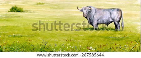 watercolor of a field and a bull - stock photo