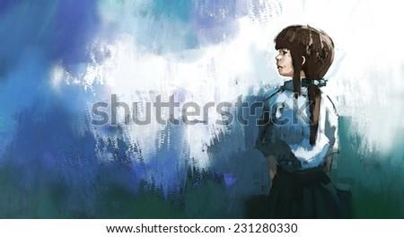 watercolor of beautiful girl in thai school uniform, digital painting - stock photo