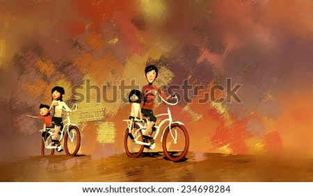 watercolor of family on cycle ride in summer, digital painting - stock photo