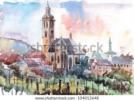Watercolor of Old Church of St. Jacob in Kutna Hora (Czech Republic) - stock photo