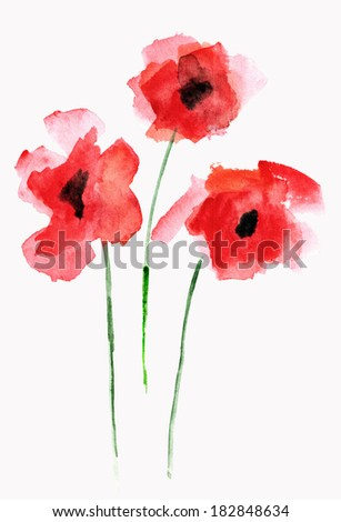 watercolor of red flowers on a white background - stock photo