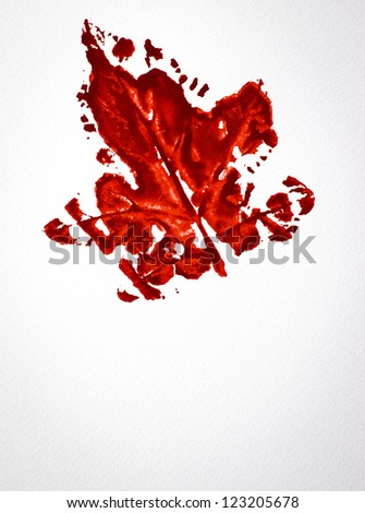 Watercolor of red leaf