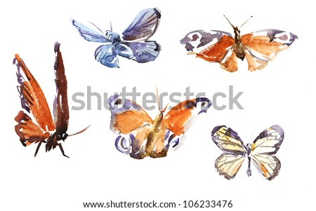 Watercolor of the image of bright butterflies: peacock eye and other