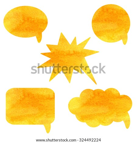 Watercolor orange speech bubbles set isolated on white background set. Hand painting on paper - stock photo