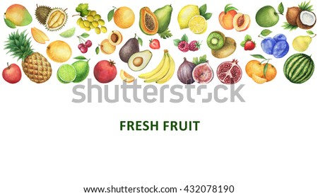 Watercolor organic food template. Healthy eating with fruits for menus, cooking web sites, restaurants, magazines and a healthy lifestyle. - stock photo