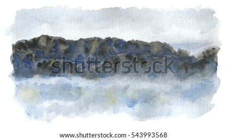 Watercolor original painting with fantasy high mountain ridge covered with clouds