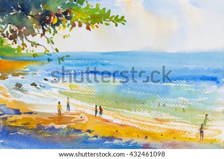 Watercolor original  seascape painting colorful of beach and  sand in emotion clound background - stock photo