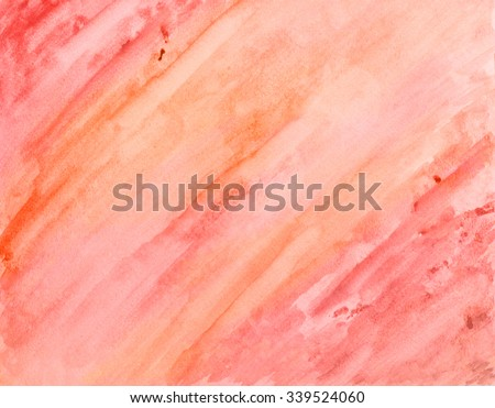 watercolor paint background wash in pastel pink and orange diagonal brush strokes, abstract pink hand painted background design on watercolor paper canvas texture - stock photo
