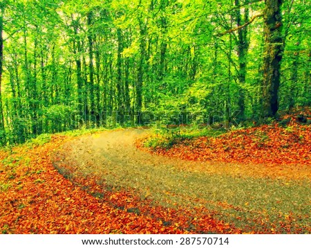 Watercolor paint. Paint effect..Curved path bellow beech trees. Spring afternoon in forest after rainy day. - stock photo
