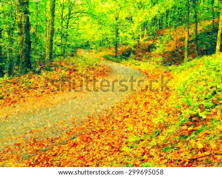 Watercolor paint. Paint effect.. .Curved path bellow beech trees. Spring afternoon in forest after rainy day. - stock photo