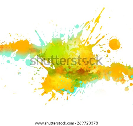 Watercolor paint splash  isolated on a white background.