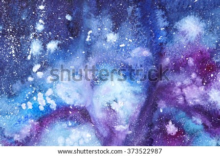 Watercolor painted abstract background, galaxy