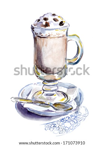 Watercolor painted glass of coffee cocktail - stock photo