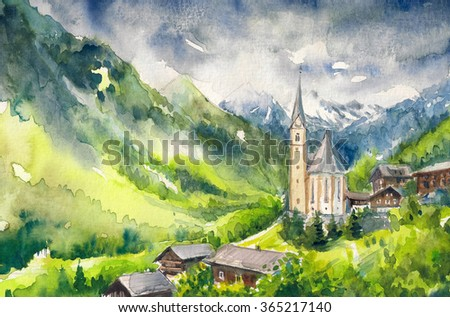 Watercolor painted illustration of village Heiligenblut at the foot of the Alps in Austria - stock photo