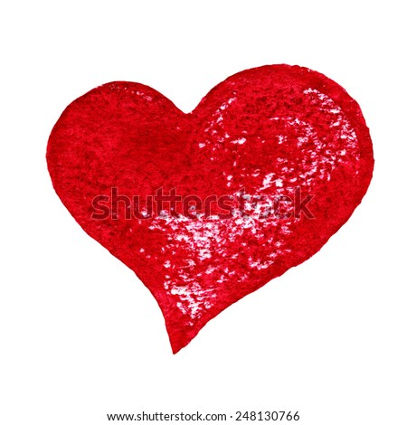Watercolor Painted Red Heart Symbol Your Stock Illustration