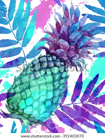 Watercolor painted vivid colors pineapples and leaves seamless pattern - stock photo