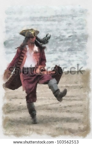 Watercolor Painting: a drunken pirate on shore