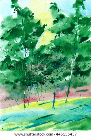 Watercolor painting. Abstract green background trees in the wind.