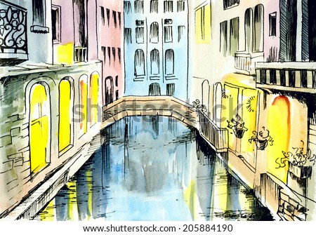 watercolor painting - ?anal in Venice - stock photo