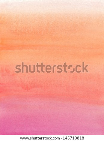 Watercolor painting. Beige, orange, pink, gradient - stock photo
