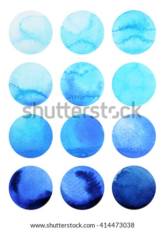watercolor painting blue drop pattern design, hand drawn - stock photo
