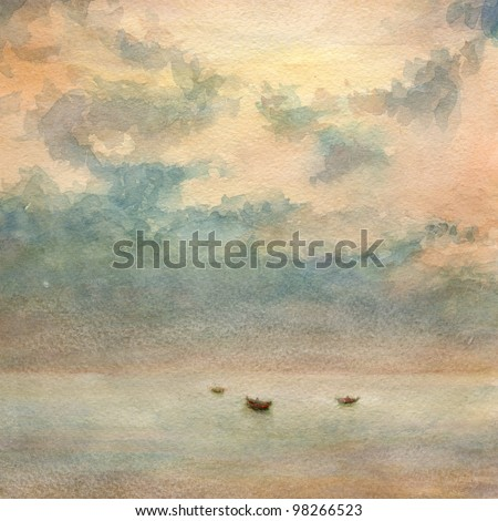 Watercolor painting. Boats in the calm sea and some clouds in the sky.