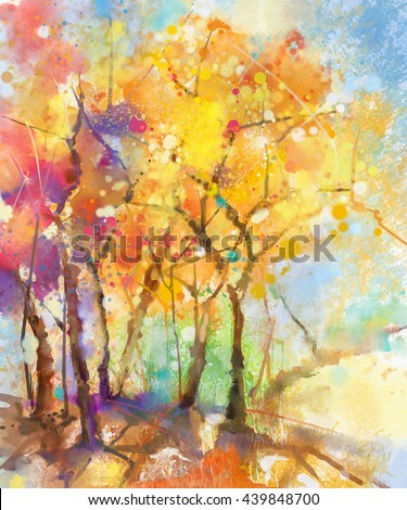 Watercolor painting colorful landscape. Semi- abstract watercolor landscape image of tree in yellow, orange and red with blue sky background. Spring, summer season nature watercolor background - stock photo
