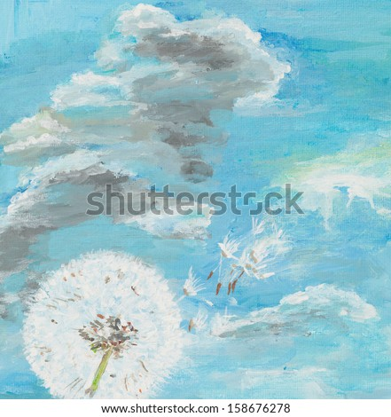 watercolor painting illustrating a dandelion on cloudy blue sky - stock photo