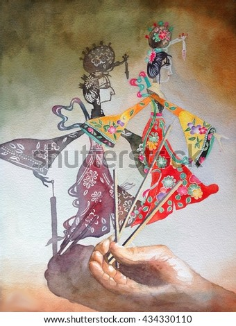 watercolor painting illustration shadow play traditional Chinese China folk art - stock photo