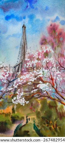 Watercolor painting landscape with blooming spring tree in Paris - stock photo