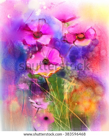 Watercolor painting nature grass flowers. Hand paint close up pink cosmos flower, pastel floral and shallow depth of field. Spring flowers in soft color on yellow, red, blue color background. - stock photo