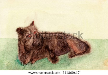 Watercolor painting of a brown creature with cat ears lying on a green lawn