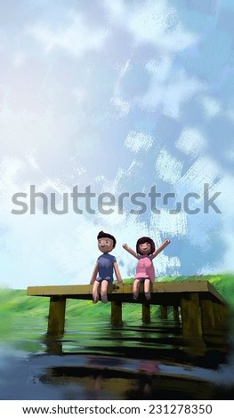 watercolor painting of boy and girl on the waterfront, digital painting - stock photo