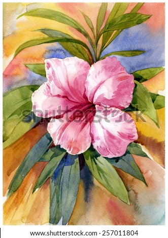 watercolor painting of flower on full color background - stock photo
