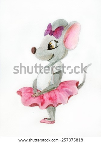 Watercolor painting of gray mouse-ballerina - stock photo