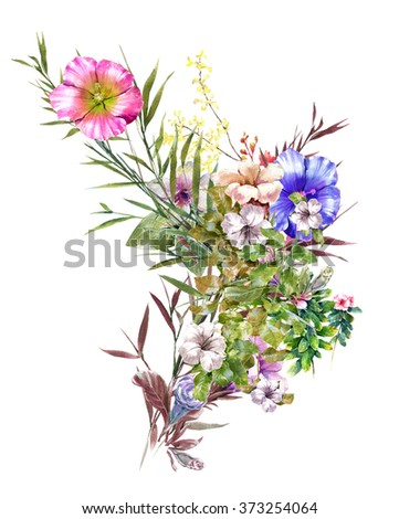 watercolor painting of green leaves and flower, on white background  - stock photo