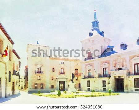 Watercolor painting of Plaza de la Villa in Madrid, Spain